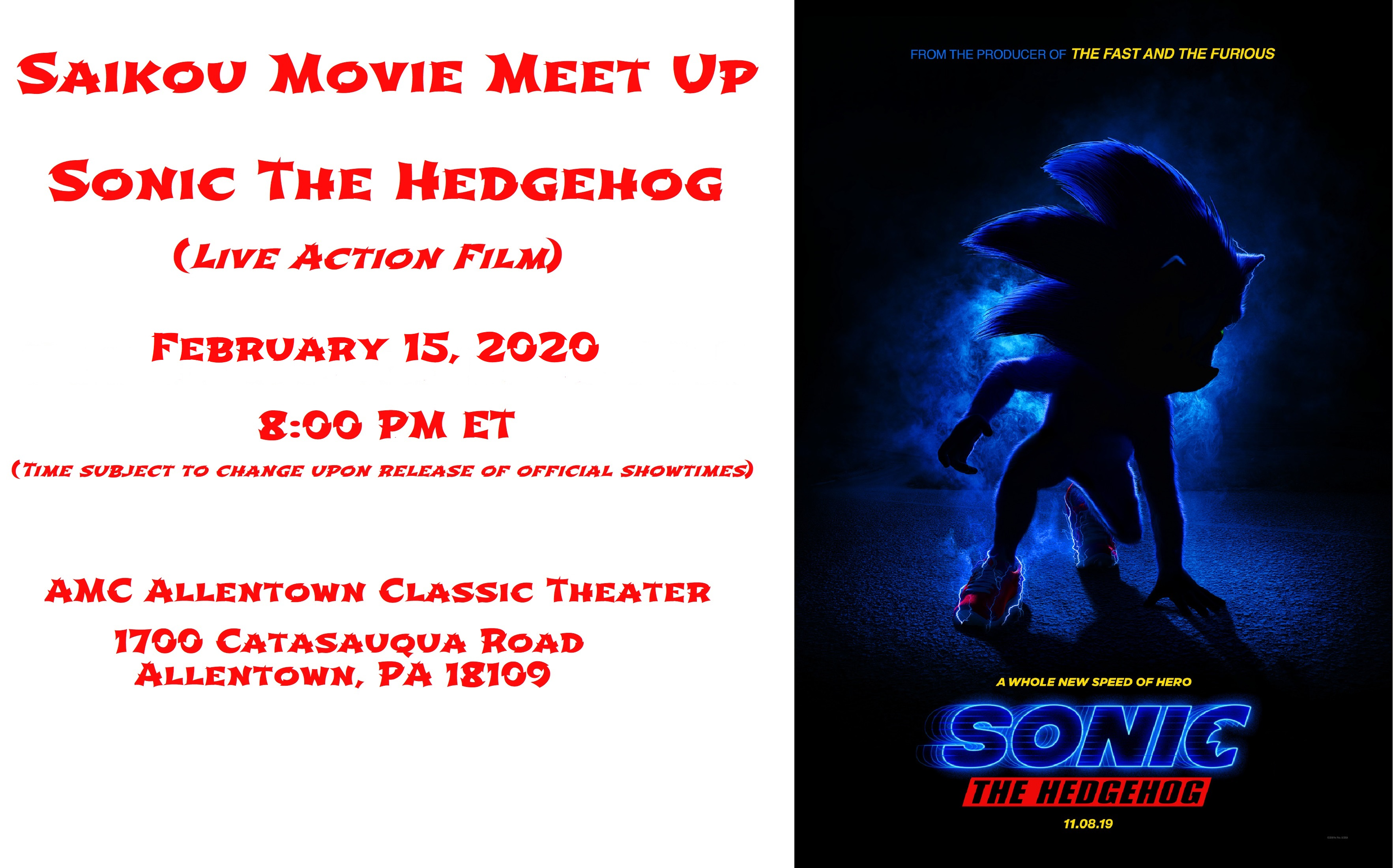 Saikou Movie Meet Up - Sonic The Hedgehog_New Release Date